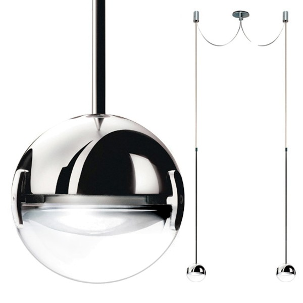 Cini & Nils Convivio new LED Sopratavolo Due, Chrom, Linse transparent