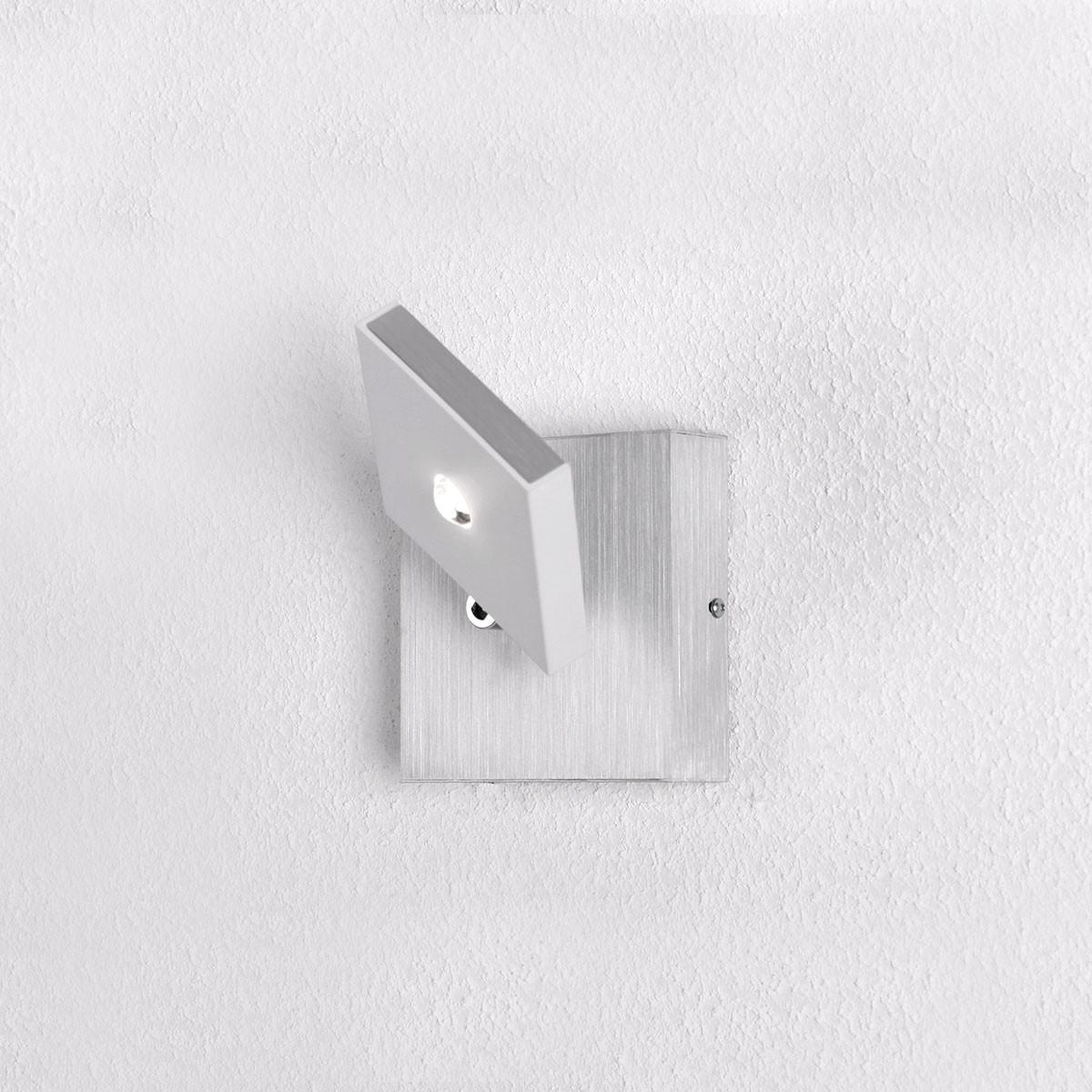 Bopp Domino LED Wandleuchte, Aluminium geschliffen - weiß