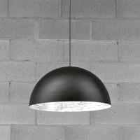 Stchu-Moon 02 Pendelleuchte, Ø: 40 cm, Silber, außen schwarz