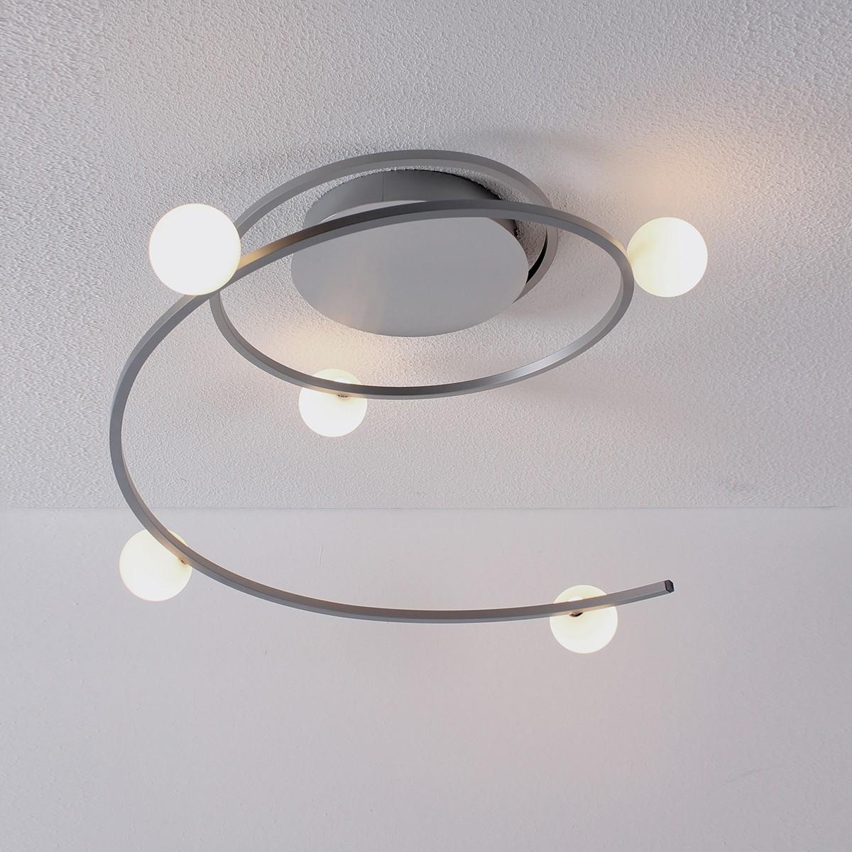 Bopp Loop Deckenleuchte, Aluminium / Glas opal, extern dimmbar