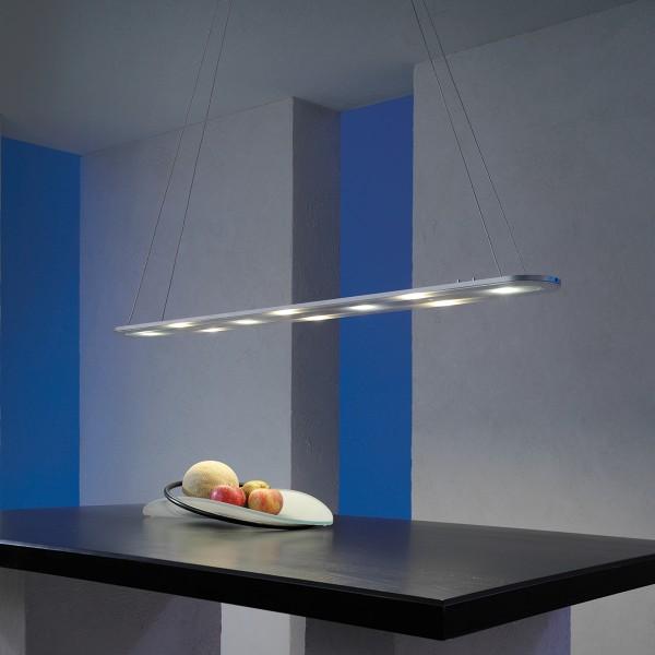 Escale LED-Pendelleuchte EOS, Aluminium geschliffen, beide Lichtmodule aktiviert (Anwendungsbild)