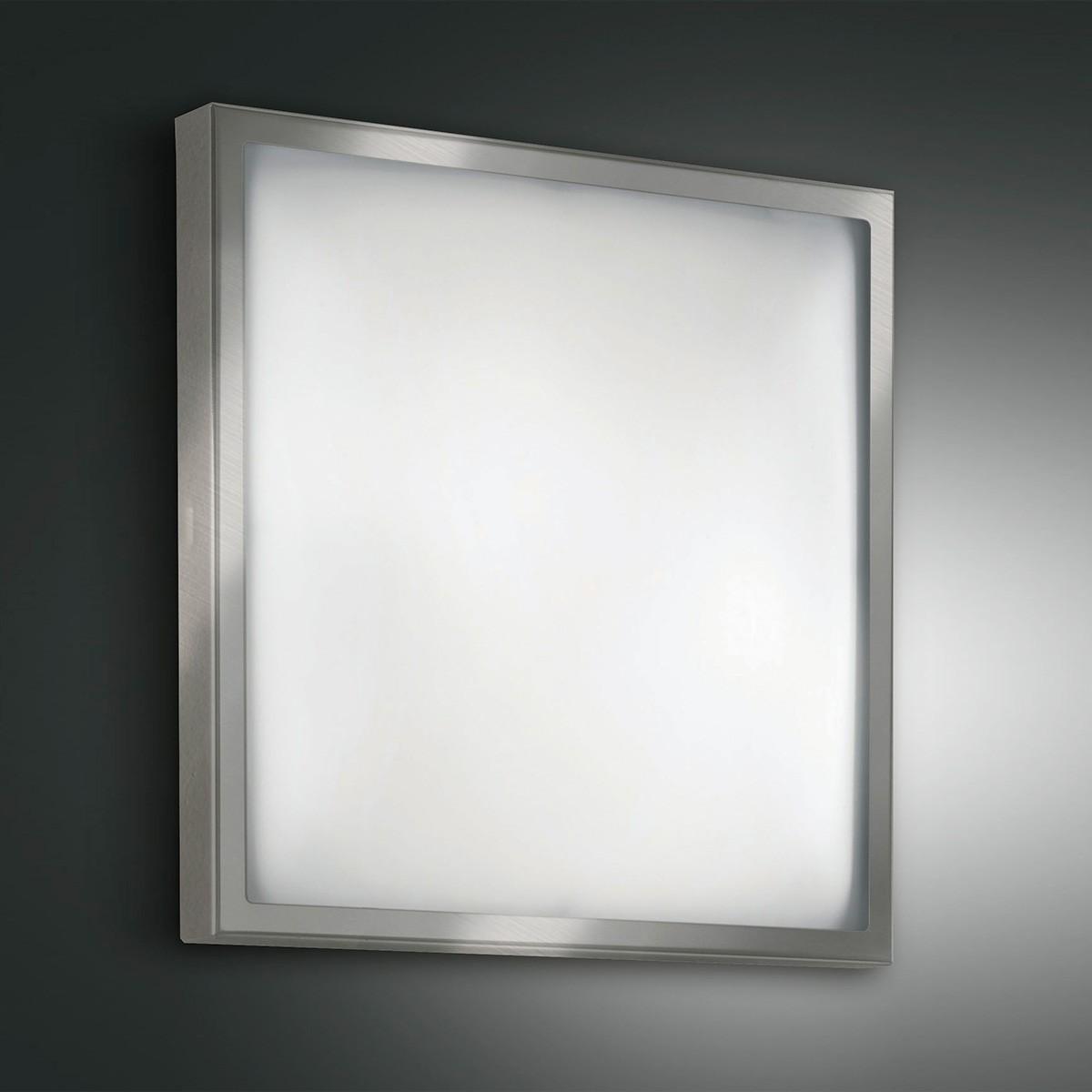 Fabas Luce Osaka Deckenleuchte, 40 x 40 cm, Nickel satiniert
