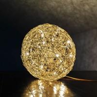 Fil de Fer Bodenleuchte, Ø: 30 cm, Gold, dimmbar