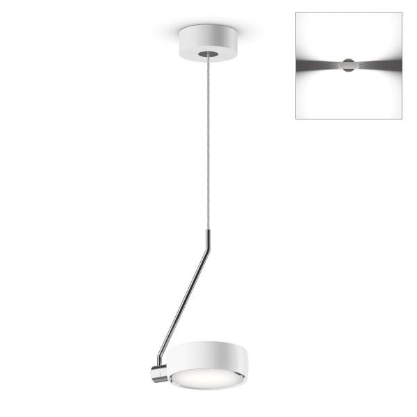 Occhio Sento A LED filo singolo up Pendelleuchte, Chrom / weiß glänzend