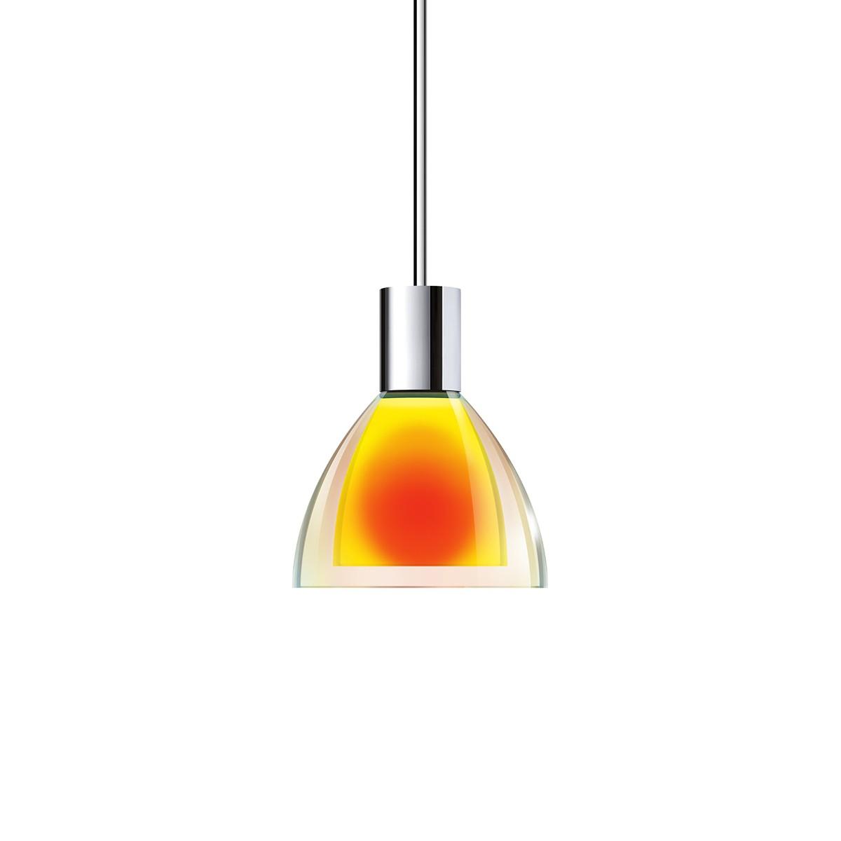 Bruck Duolare Silva Neo Ø: 11 cm Fassung: Chrom Pendelleuchte, Glas: dichroitisch orange - gelb