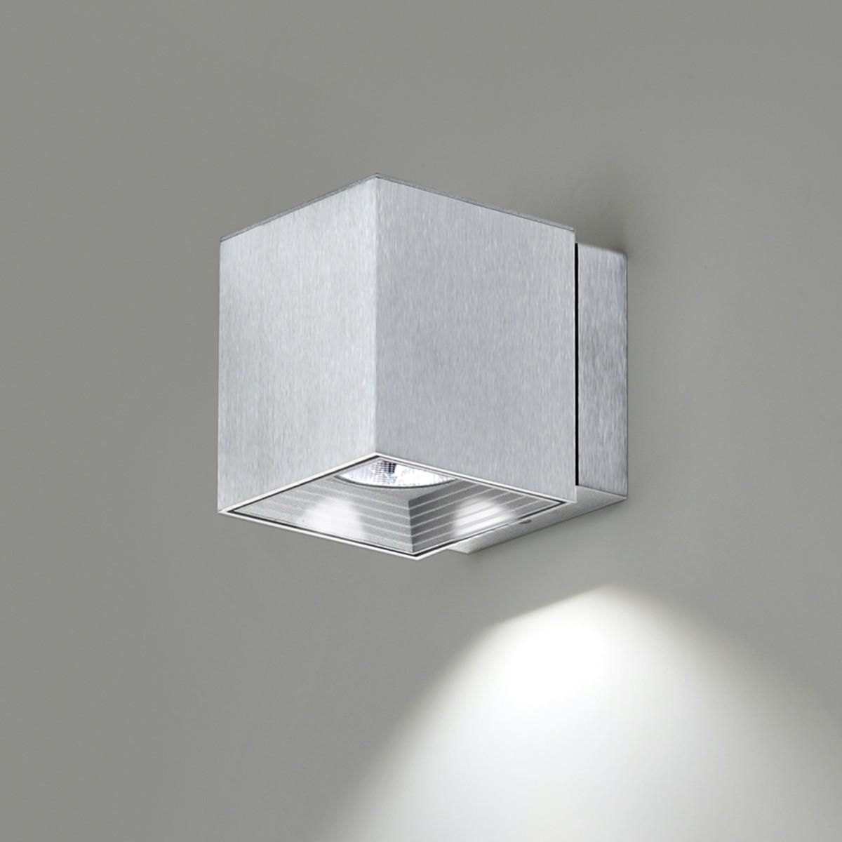 Milan Dau Spot LED Wandleuchte, Aluminium gebürstet