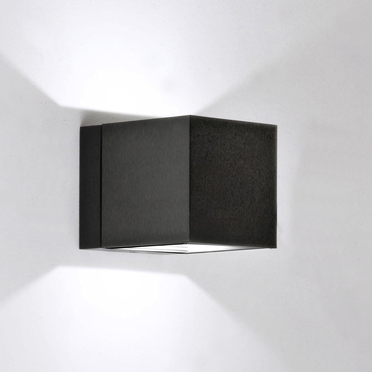 Milan Dau LED Up & Down Wandleuchte, schwarz satiniert gebürstet