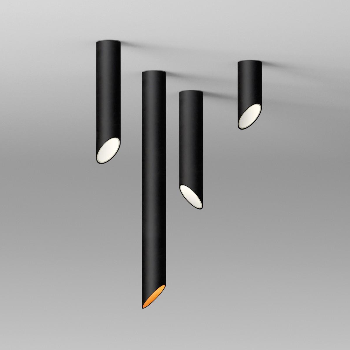 Vibia 45° Deckenleuchte, schwarz matt, Höhe: 25 cm