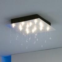 Crystal Rain Deckenleuchte, Blattaluminium, 40 x 40 cm