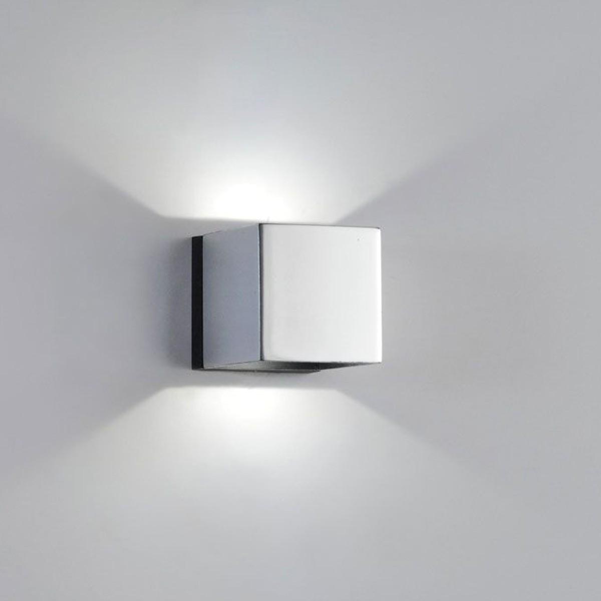 Milan Mini Dau LED Up & Down Wandleuchte, Chrom / mattschwarz