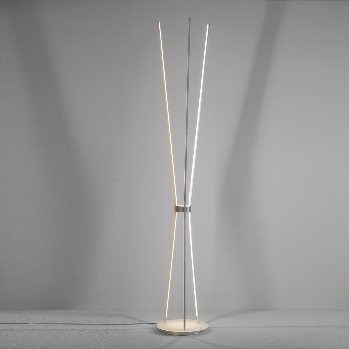 Escale Jazz LED Stehleuchte, Alu geschliffen, Glas: weiß
