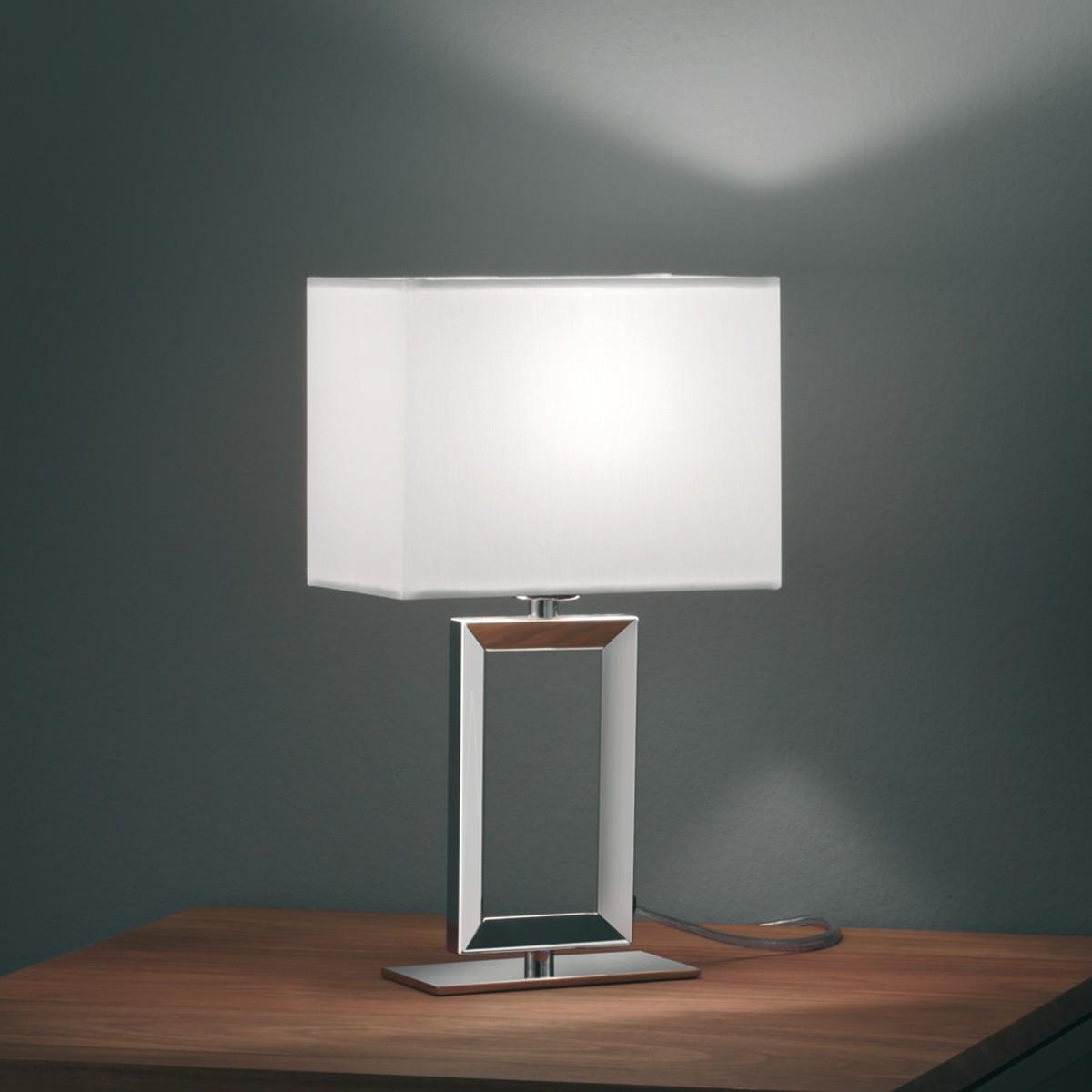 Helestra Enna 2 Tischleuchte, Höhe: 29,5 cm, Chintz weiß / Nickel blank
