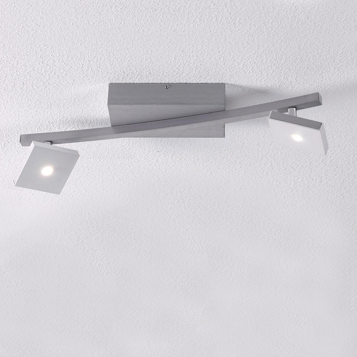 Bopp Domino LED Deckenleuchte, 2-flg., Aluminium geschliffen - weiß