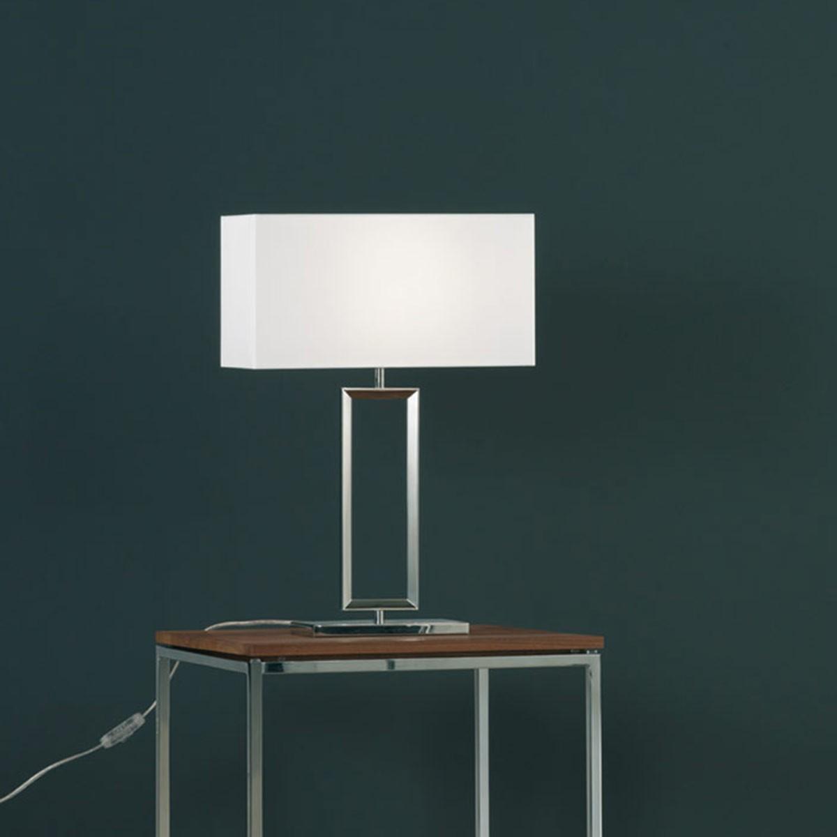 Helestra Enna 2 Tischleuchte, Höhe: 53 cm, Chintz weiß / Nickel blank