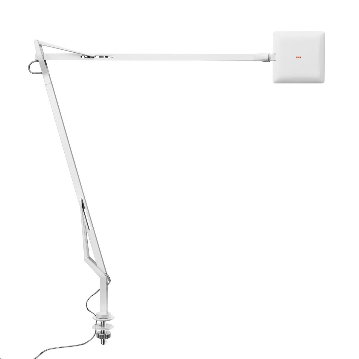 Flos Kelvin Edge Tischleuchte mit Schraubbefestigung, mit verhülltem Kabel, weiß glänzend