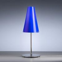 TLWS 03 Tischleuchte, Gestell: Nickel, Glas: blau