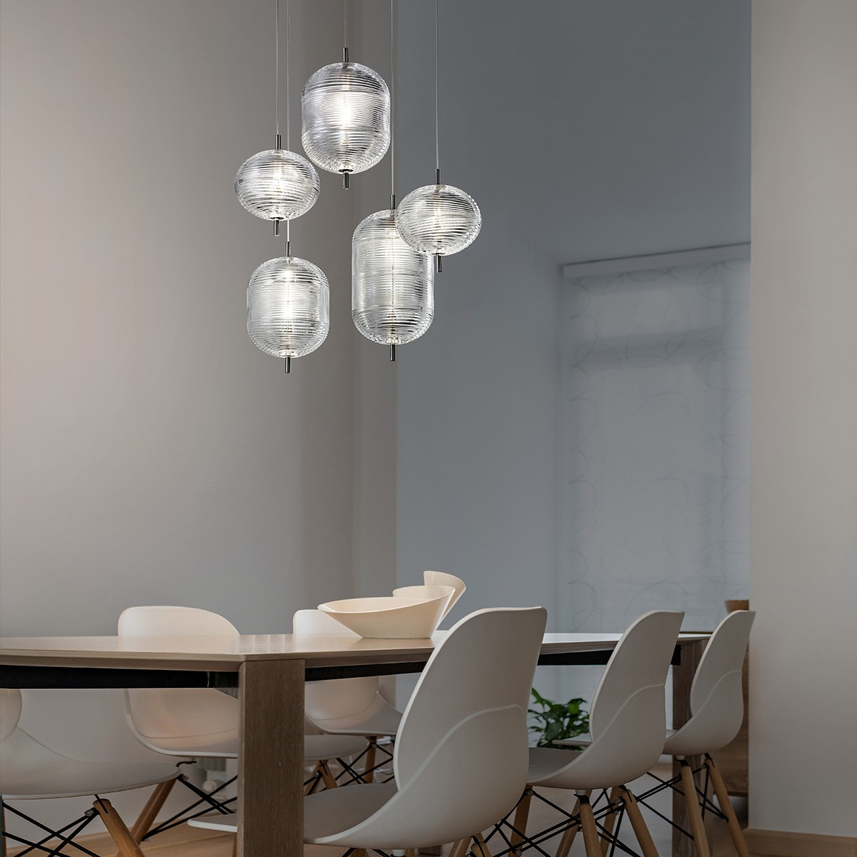 Studio Italia Design Jefferson LED Pendelleuchte, 5-flg., Chrom schwarz - Kristallglas