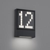 Helestra Dial LED Dial LED Hausnummern- / Außenwandleuchte, graphit, frei gestaltbare Leuchtenfront mit der Hausnummer 12