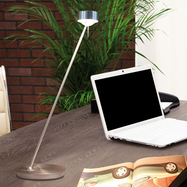Top Light Puk Table Single LED Tischleuchte, 80 cm, Chrom matt, Glas satiniert / Linse klar
