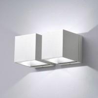 Milan Dau LED Up & Down Wandleuchte, 4-flg., Aluminium gebürstet