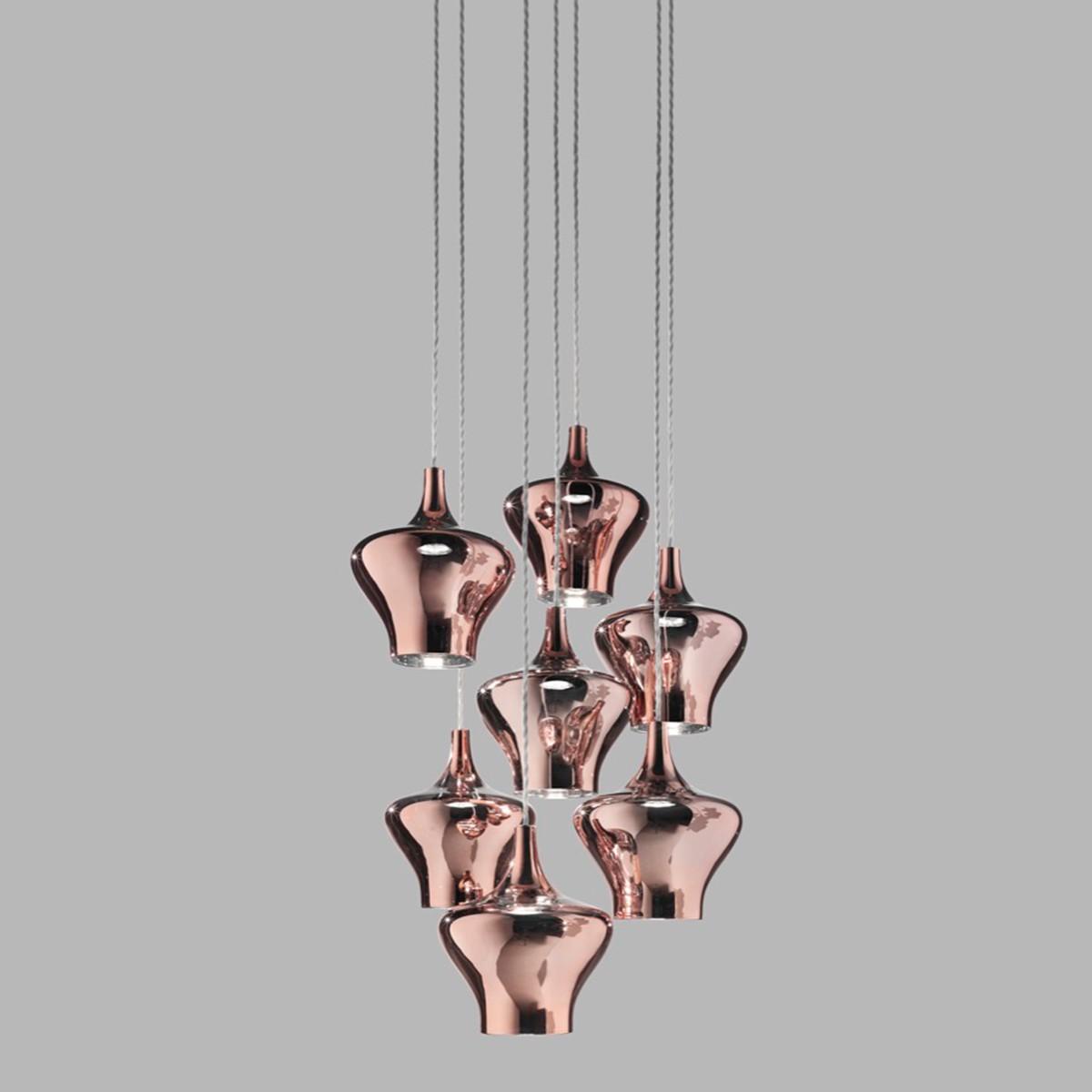 Studio Italia Design Nostalgia Glas Medium Pendelleuchte 7-flg., Chrom - Rose Gold