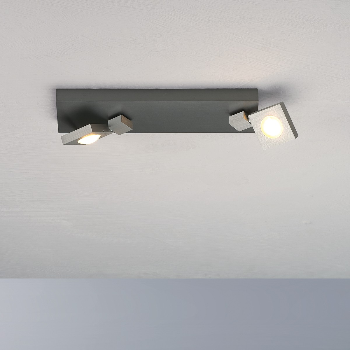 Bopp Flash LED Deckenleuchte 2-flg., Aluminium geschliffen - anthrazit lackiert