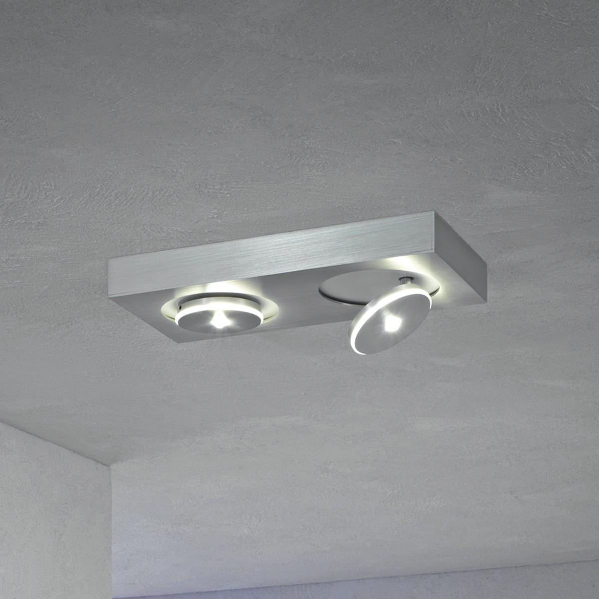 Escale Spot It LED Deckenleuchte, rechteckig, 2-flg., Aluminium geschliffen