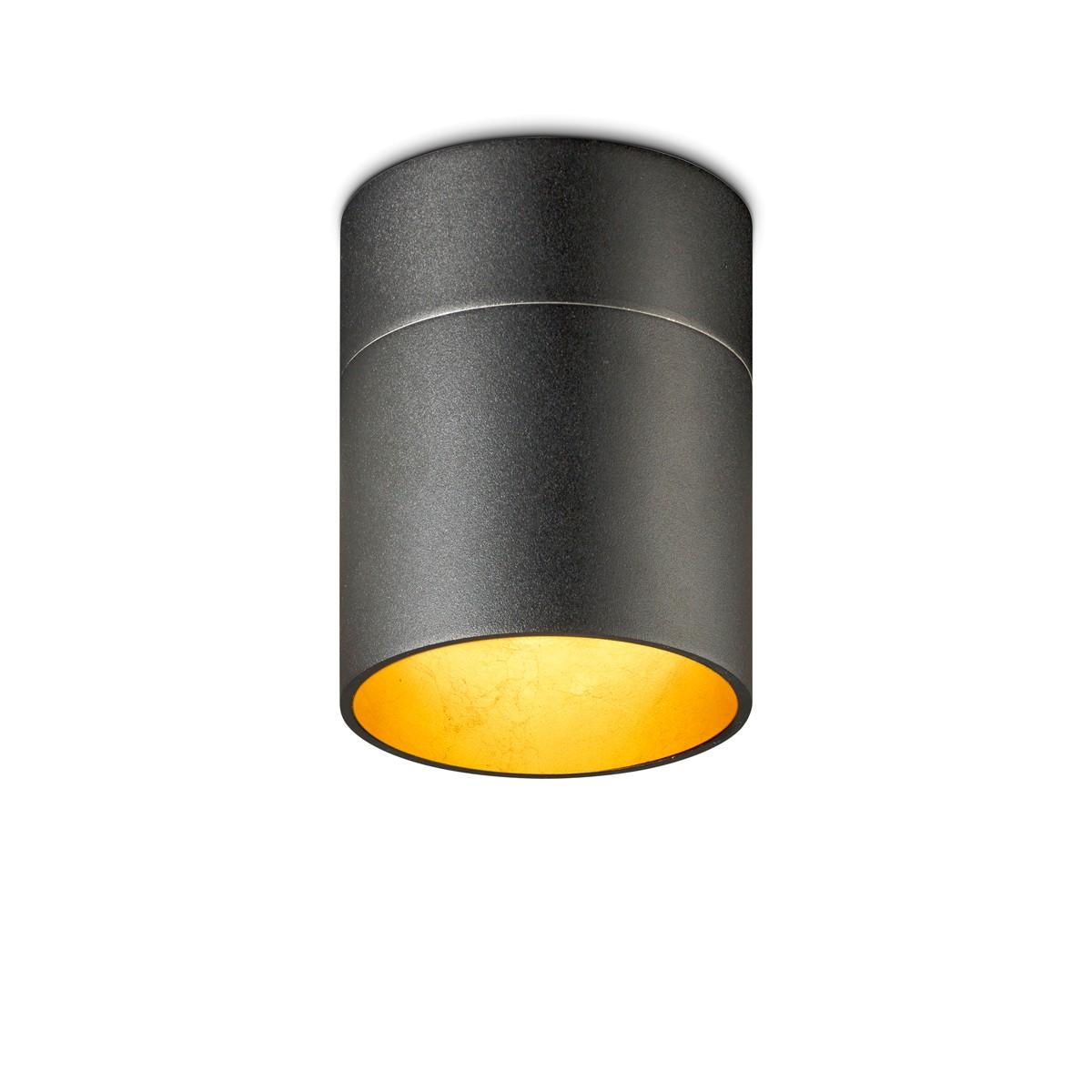 Oligo Tudor M Deckenleuchte, schwarz matt / Blattgold
