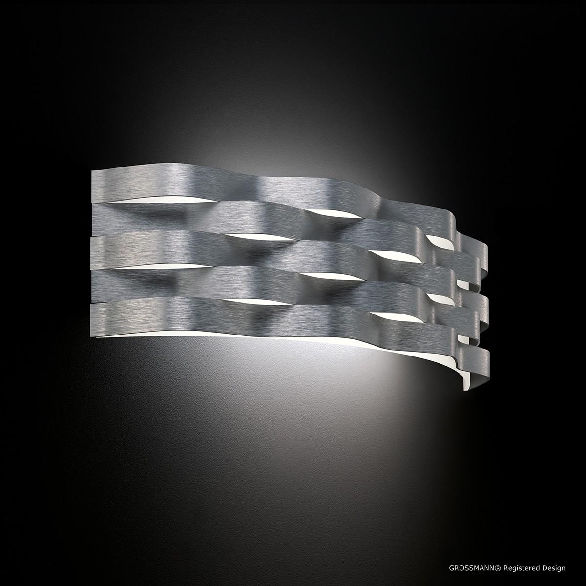 Grossmann Curve Wandleuchte, Aluminium gebürstet