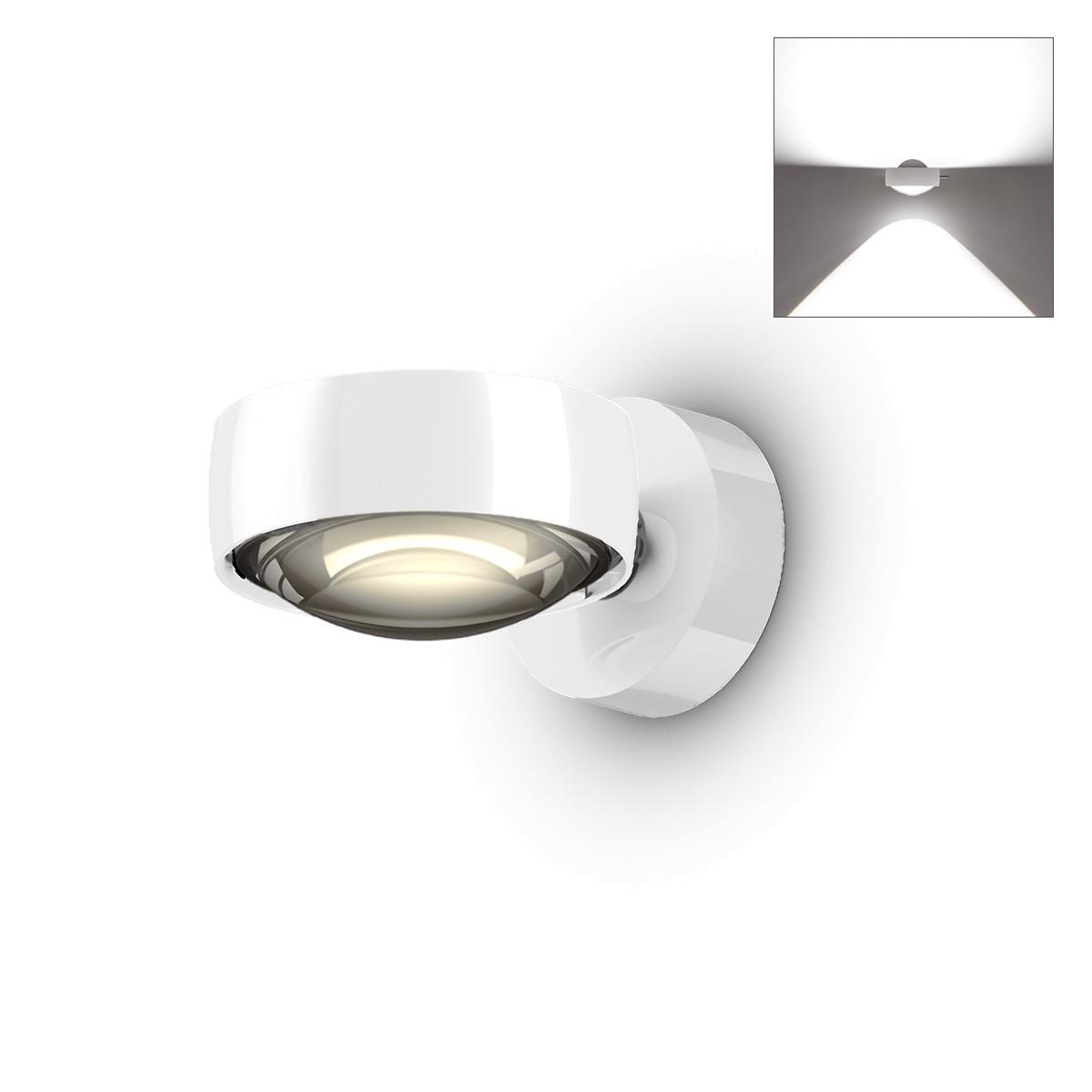 Occhio Sento E LED verticale up Wandleuchte, 2700 K, Chrom / weiß glänzend