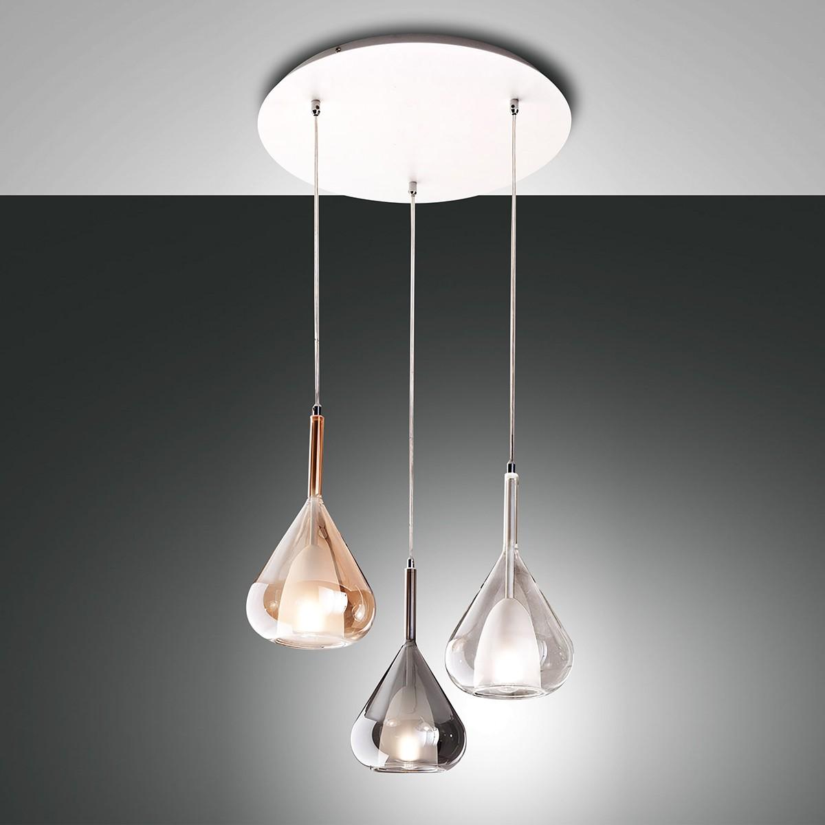Fabas Luce Lila Pendelleuchte, 3-flg., amber / grau transparent / transparent