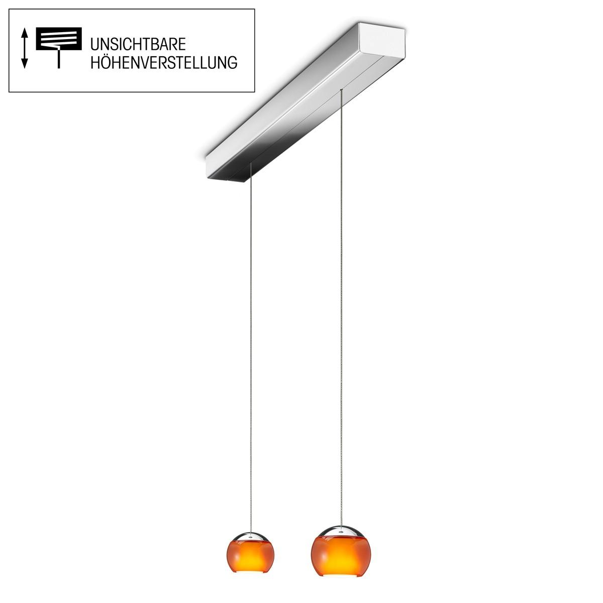 Oligo Balino LED Pendelleuchte, 2-flg., unsichtbare Höhenverstellung, Baldachin: Chrom, Chrom / orange glänzend