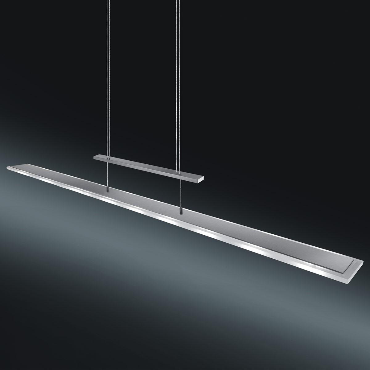 Helestra Antea Pendelleuchte, Edelstahl / Glas teilsatiniert, Länge: 130 cm