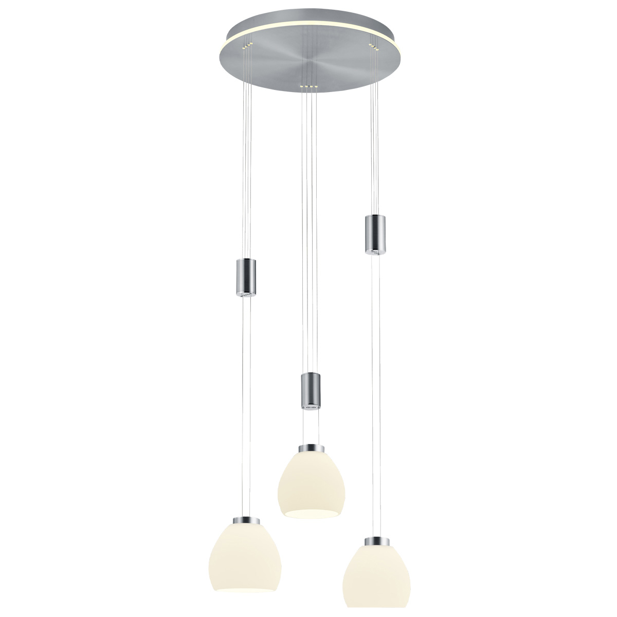 B-Leuchten Sam LED Pendelleuchte, 3-flg., mit Rondell 20454/3-92