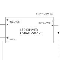 24 V PWM Dimmeinheit, max. 120 W, 1–10 V oder 100 K Ω Potentiometer (logarithmisch)