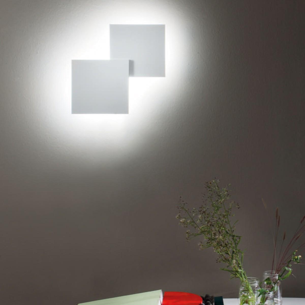 Studio Italia Design Puzzle Double Square Wand - / Deckenleuchte, weiß matt, 3000° K