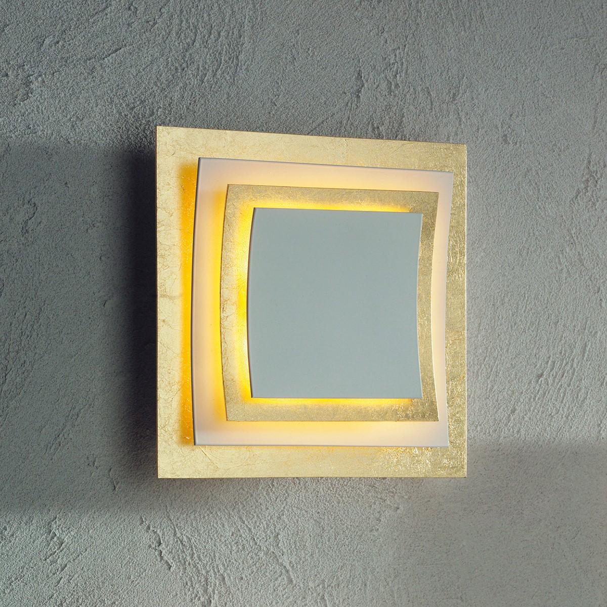 Escale Pages Wand- / Deckenleuchte, Blattgold / weiß