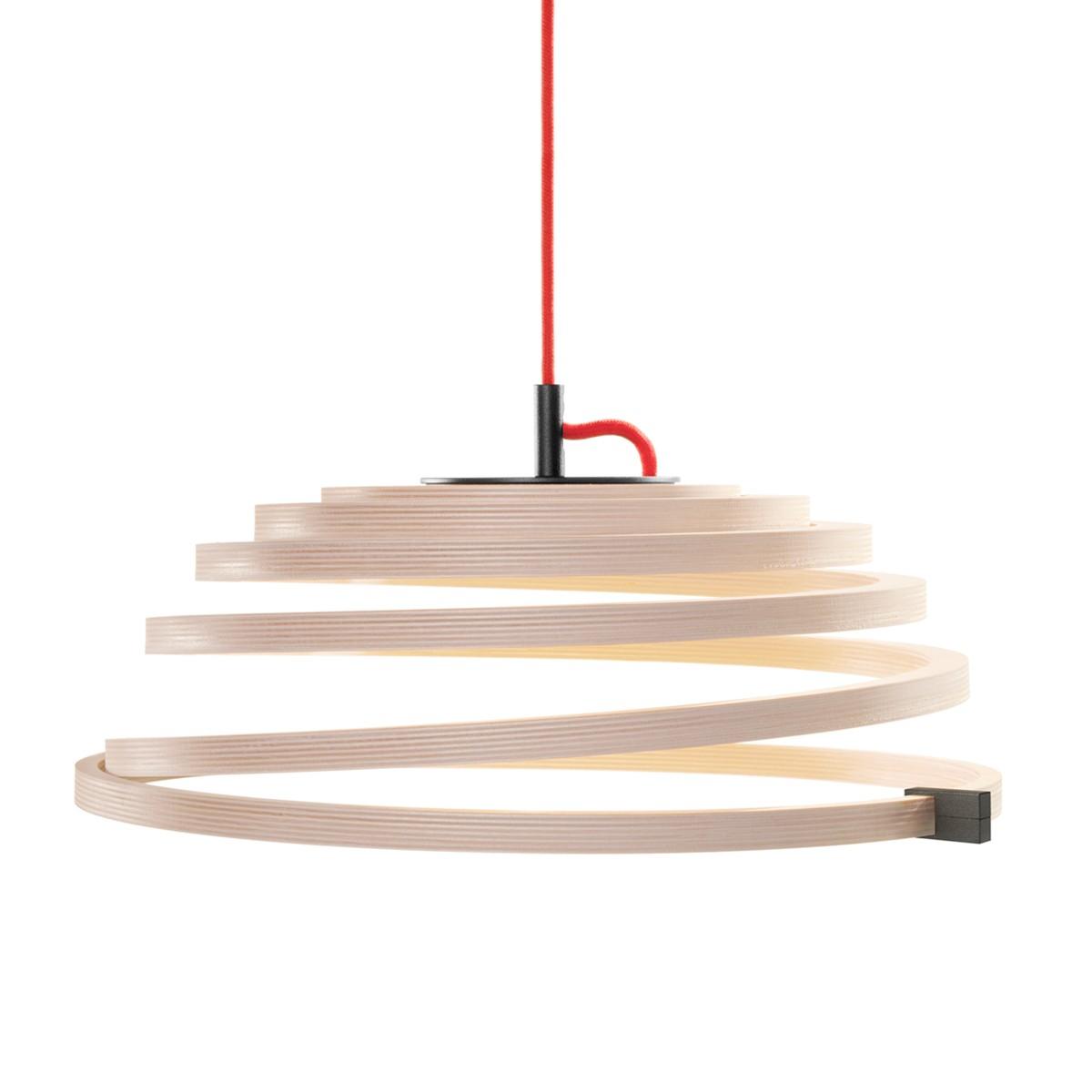 Secto Design Aspiro 8000 Pendelleuchte, Birke natur, Kabel: rot