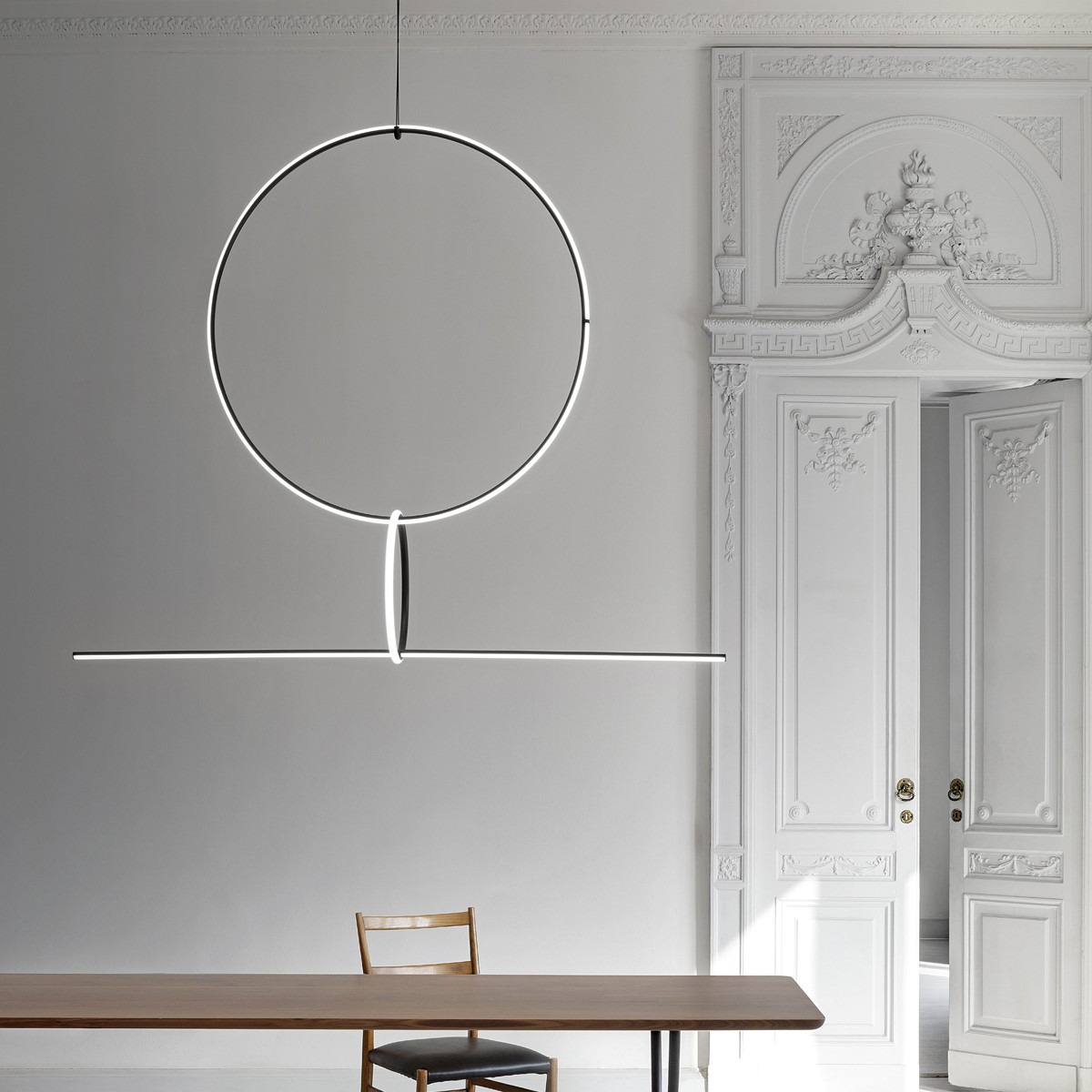 Flos Arrangements LED Pendelleuchte, Round L + Round S + Line