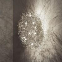 Fil de Fer Ovale Wand-/Deckenleuchte, Ø: 70 cm, Aluminium
