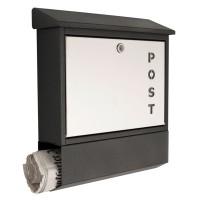 """Briefkasten mit Schriftzug """"Post"""", Materialmix grafitgrau und Edelstahl"""