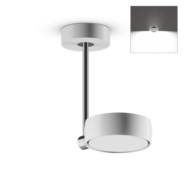 Occhio Sento B LED faro up, 20 cm, Chrom / weiß glänzend