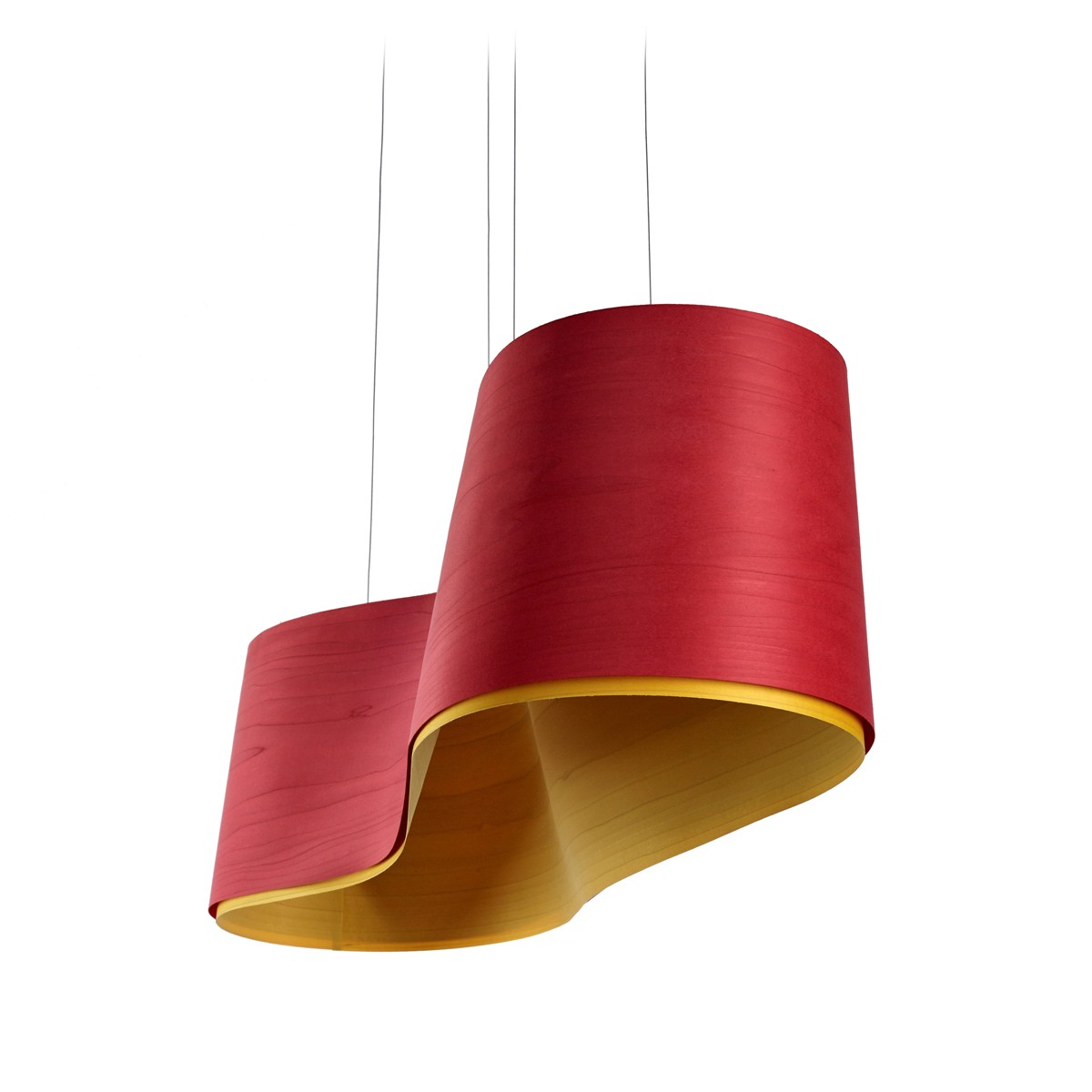 LZF Lamps New Wave Pendelleuchte, rot, innen: gelb