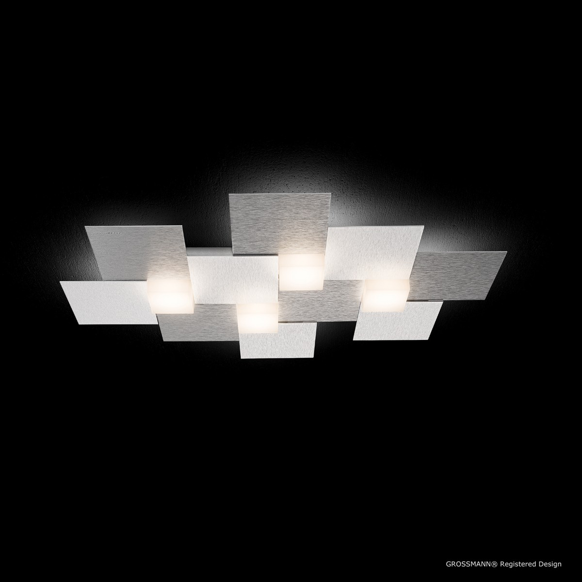 Grossmann Creo LED Deckenleuchte, Alu gebürstet, 55 x 38,5 cm