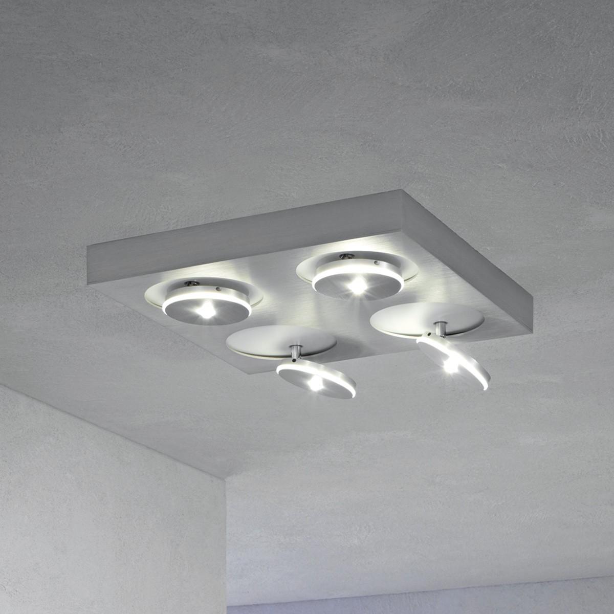 Escale Spot It LED Deckenleuchte, quadratisch, 4-flg., Aluminium geschliffen