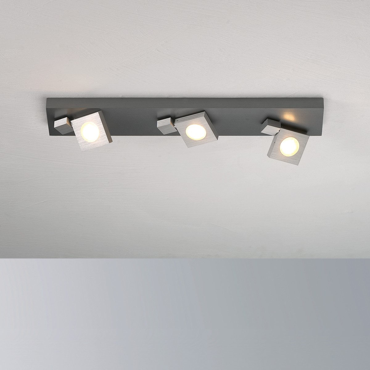 Bopp Flash LED Deckenleuchte 3-flg., Aluminium geschliffen - anthrazit lackiert