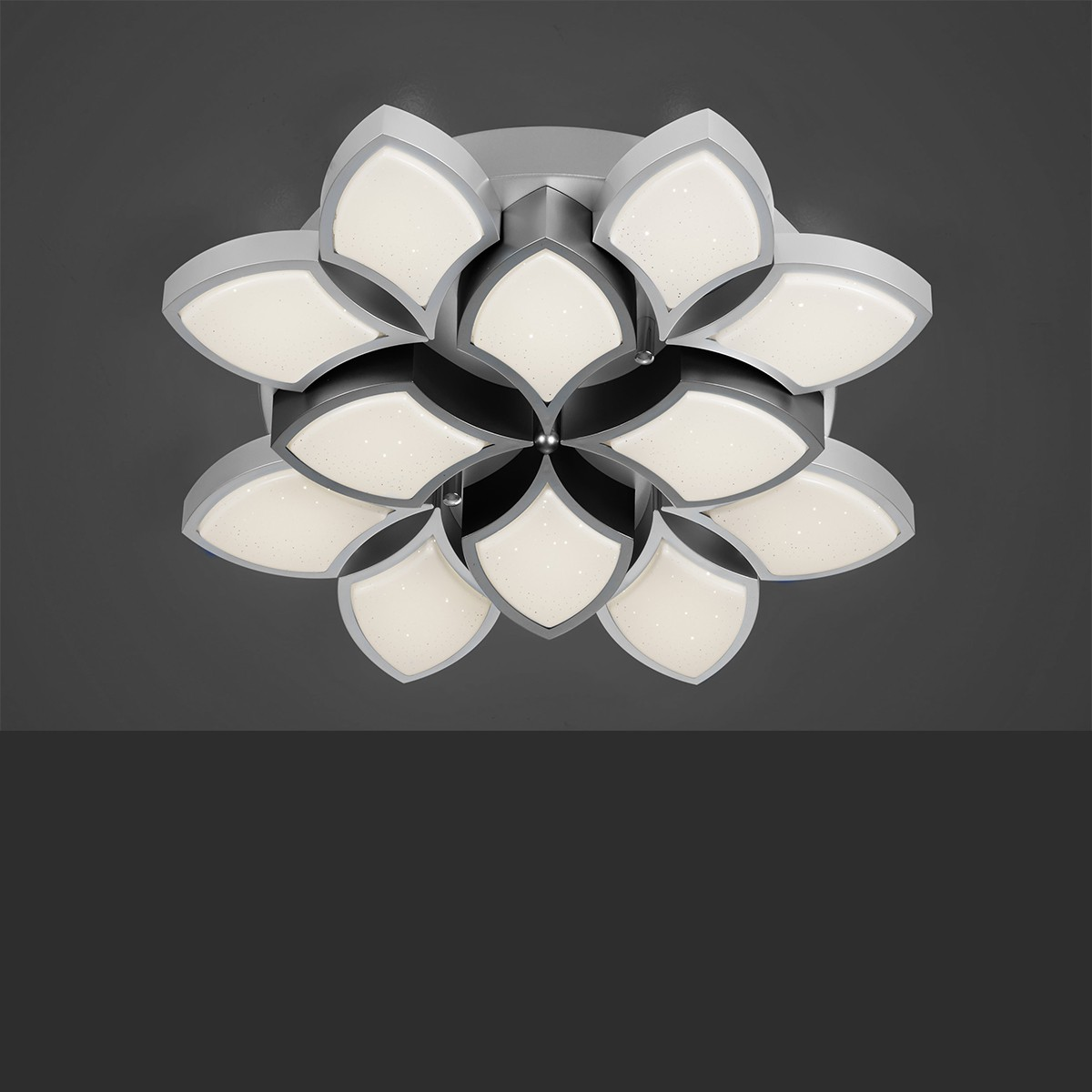 B-Leuchten Rose Deckenleuchte, Ø: 56 cm, hellgrau