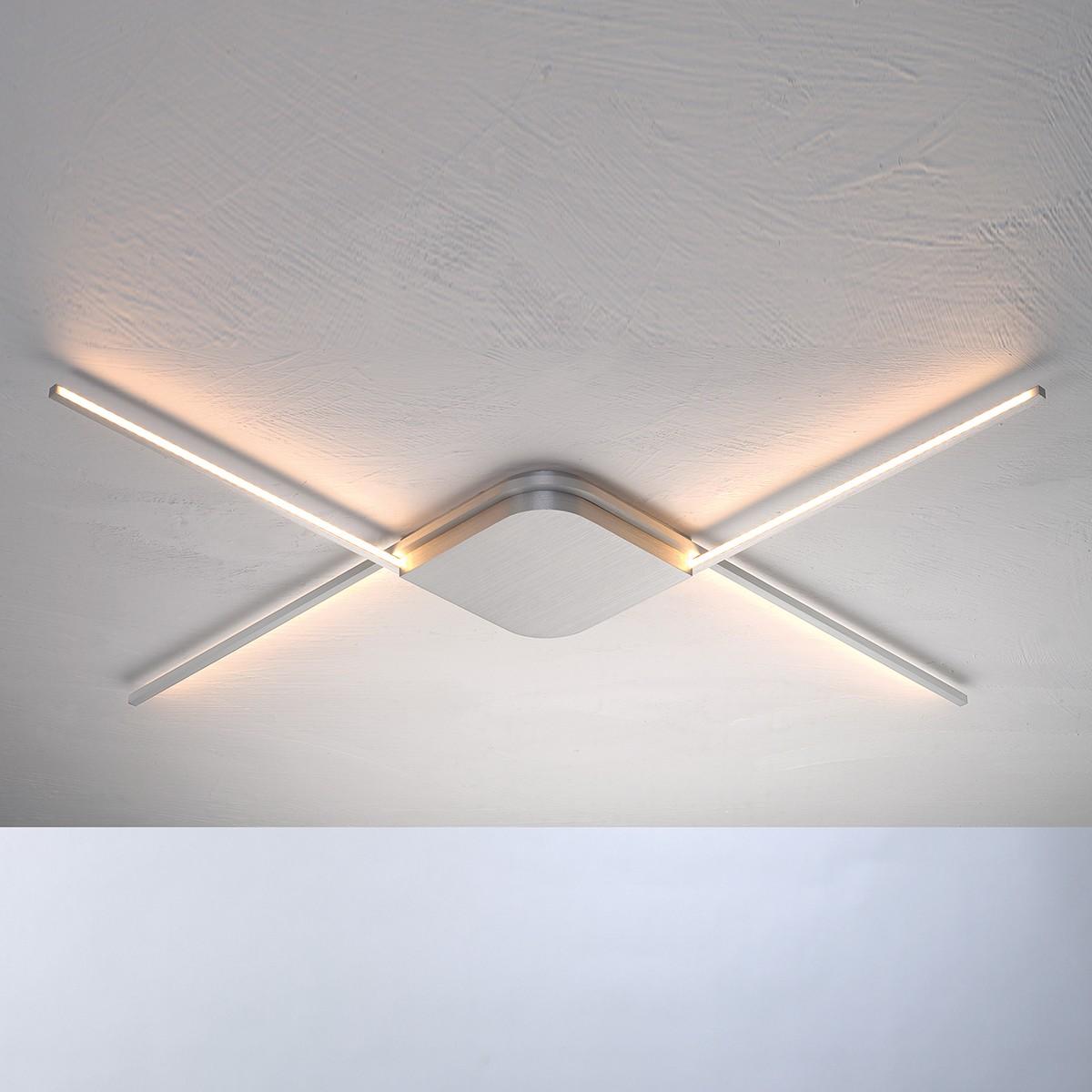 Bopp Less Deckenleuchte innenliegendes LED Band, Aluminium geschliffen