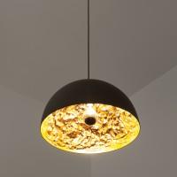 Stchu-Moon 02 230V Pendelleuchte, Ø: 40 cm, Gold, außen schwarz