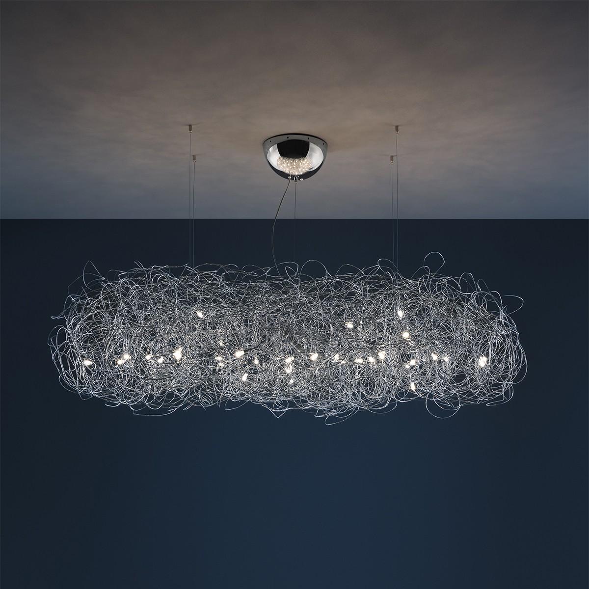 Catellani & Smith Fil de Fer Nuvola Pendelleuchte, Länge: 120 cm, mod. A, Aluminium